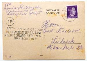 Postcard from Bernhard Rubensohn to Curt Dieber  dated 14 Sept. 1944, from the family's estate.