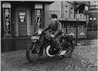 Kurt Moritz on his motorcycle