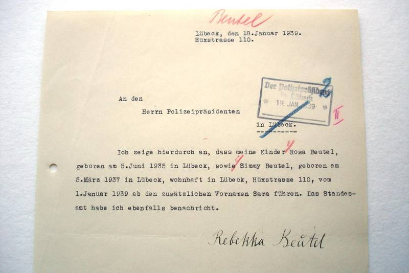 Letter dated 18 January1939 from Rebekka Beutel to the Lübeck chief of police