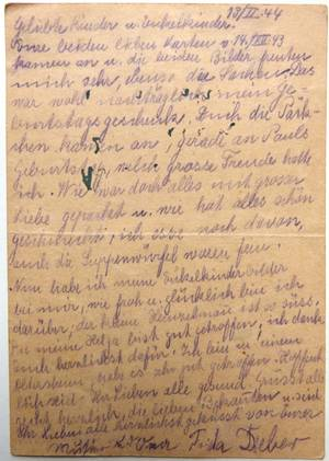 Postcards from Frieda Dieber sent from the Ghetto Teresien dated 13 Feb. and 6 June 1944,  from the family's estate