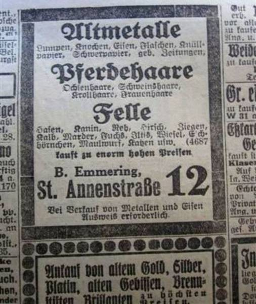 Advertisement from a 1922 Lübecker Generanzeiger[4]
