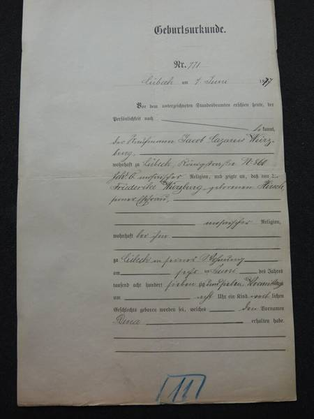 Geburtsurkunde Dina Würzburg: Archiv der Hansestadt Lübeck, Amtgericht, Abt. 7, Testament 25 / 1907