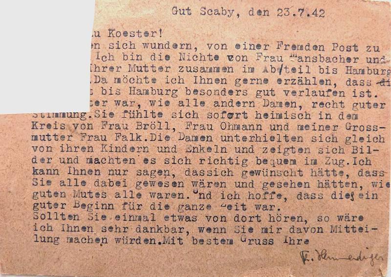 Postkarte vom 23.7.1942, Familienbesitz Dieber