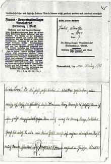 Postkarte aus Ravensbrück im März 1942 [12]