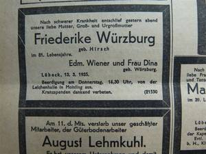Friederike Würzburg's Obituary in the Lübecker Generalanzeiger (General Advertizer) published on 14 March 1935