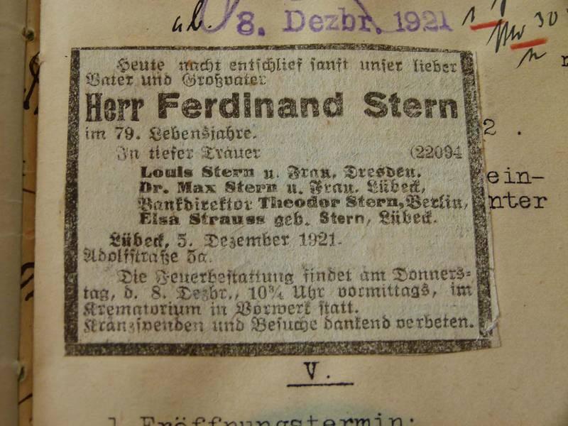 Todesanzeige für Ferdinand Stern Lübecker General-Anzeiger vom 7.12.1921, 1. Beilage, Bl. 1, verso AHL, Amtsgericht, Testament 35/1921, Strauß
