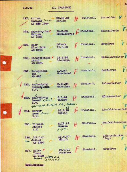 Transport list for the deportation from Mechelen to Auschwitz on 11 August 1942