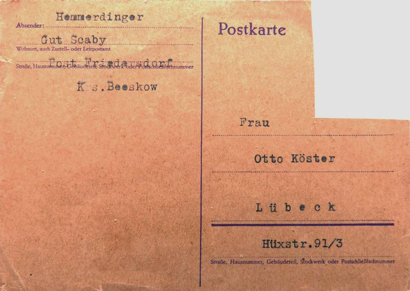 Postkcard dated 23.7.1942, from the Dieber Family's private collection.