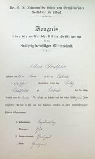 1 April 1898 grades/school report for Albert Saalfeld as given to him by the Dr. G. A. Reimann'sche (earlier called Großheim'sche) Realschule (Grade School) in Lübeck.