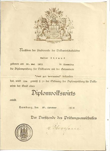 Walter Strauß' University Diploma as an economist.  From the family's private collection.