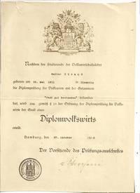 Diplom von Walter Strauß als Volkswirt, Familienbesitz