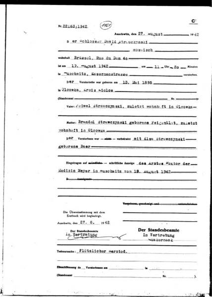 Death certificate of  David Strawczynski