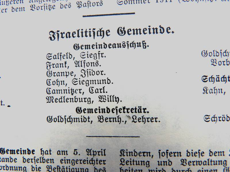 Siegmund Cohn was a member of the Community Committee. Entry in the 1916 Lübecker Address Book.