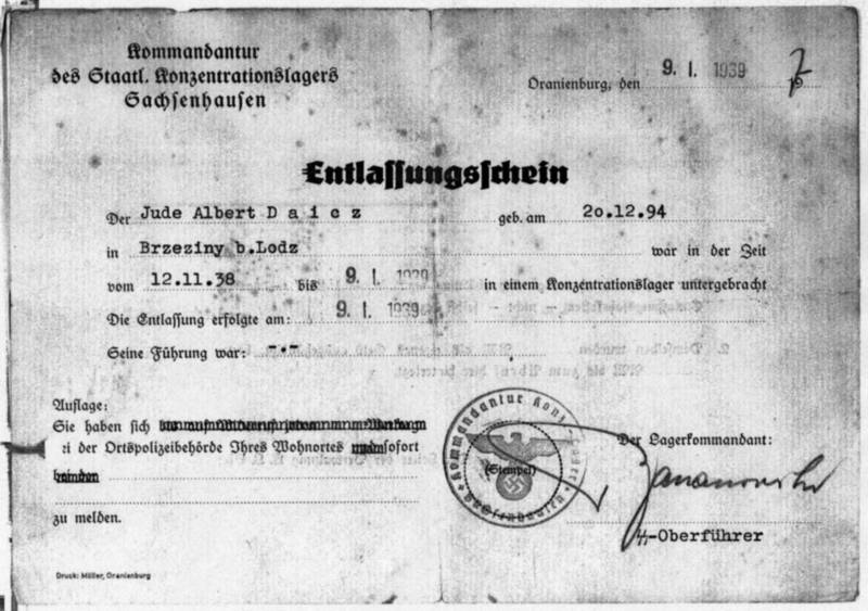 Certificate of discharge for Albert Daicz from KZ Sachsenhausen (LAS Abt. 761 Nr. 8146, Bl. 7)