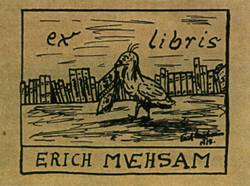 "Erich Mühsam's self-created 1917 ""Ex Libris"" (Latin: From the Library of) label used to mark his private library"
