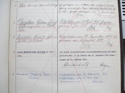 Eintragung als Eigentümer im Grundbuch Hartengrube 5 AHL, Grundbuch von Lübeck, Innere Stadt Bd.68, Blatt 2012