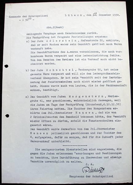 Bericht der Schutzpolizei vom 13. Dezember 1938; Archiv der Hansestadt Lübeck, Staatliche Polizeiverwaltung 126