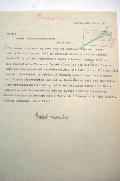 Zwangsname Richard und Herta Isaacsohn; Archiv der Hansestadt Lübeck, Staatliche Polizeiverwaltung 124
