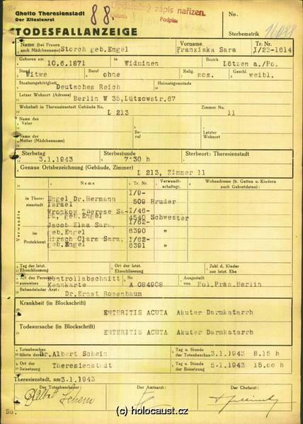 Todesfallanzeige Franziska Storch, www.holocaust.cz