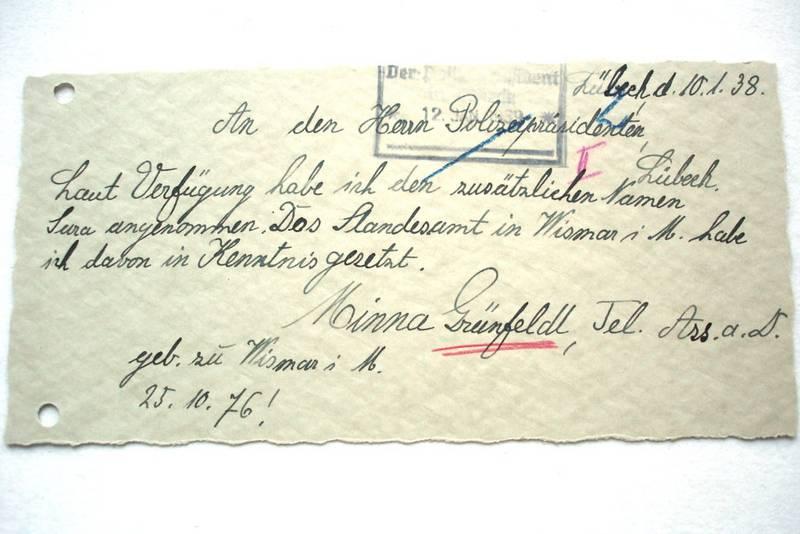 Zwangsnamen - Minna Grünfeldt; Archiv der Hansestadt Lübeck