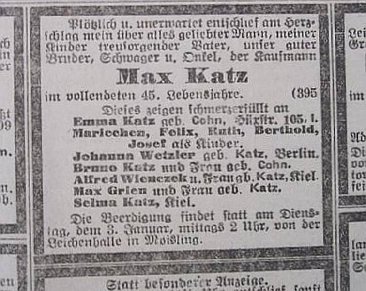 Todesanzeige Max Katz (3.1.1922) [2]