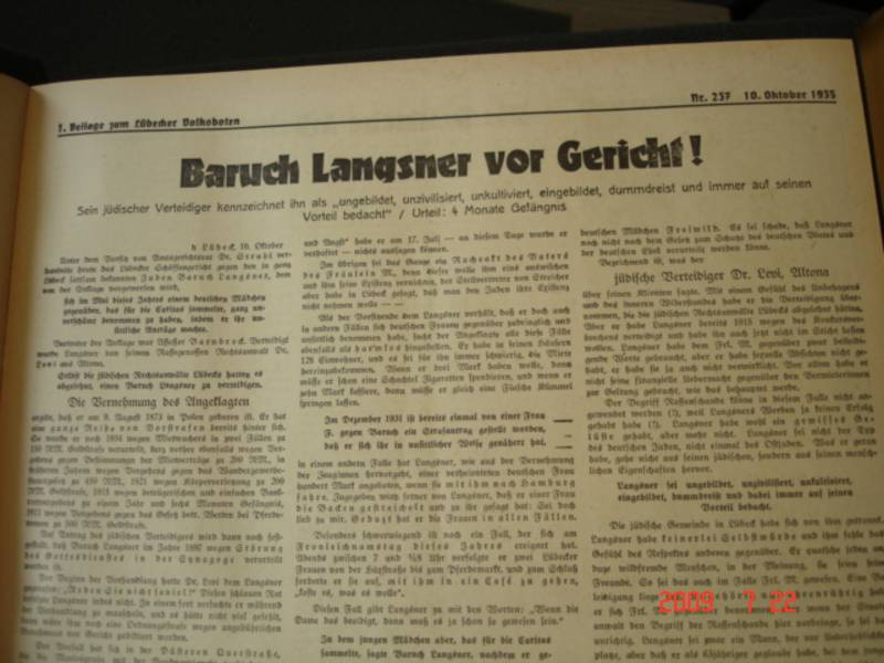 DOKUMENT: Artikel des Volksboten vom 10. Oktober 1935