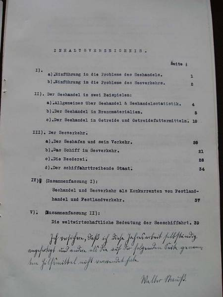 "- Gliederung der Jahresarbeit von Walter Strauß, AHL, Schulen, Johanneum (Outline of Walter Strauß' Essay ""Maritime Trade and Commerce with Special Consideration in Regards to Germany.""  Lübeck Archives, Schools, Johanneum)"