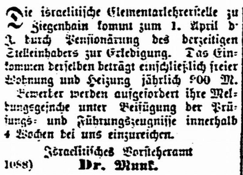 """Anzeige aus """"Der Israelit"""" vom 28.2.1887, Quelle: www.judaica-alemannia.de"""