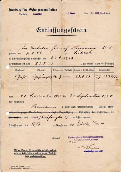 Entlassungsschein der Gefangenenanstalt Lauerhof, Lübeck [3]