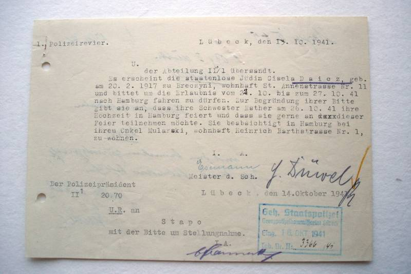Application of Gisela Daicz to the Geheimen Staatspolizei (secret police aka Gestapo) in Lübeck for a travel permit to Hamburg
