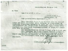 Notification of Martha's death from Auschwitz  [14]