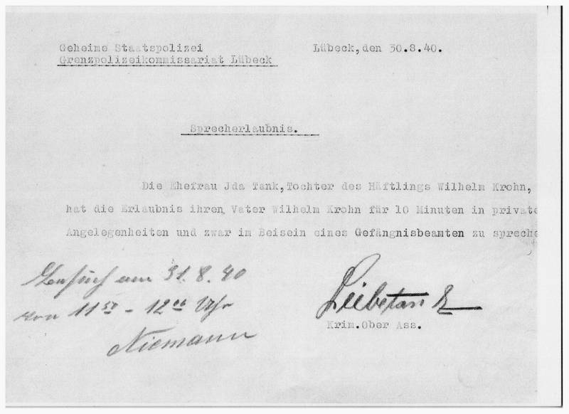 Written Official Permission for Wilhelm's daughter, Ida, to speak with him [6]