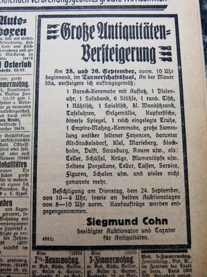 Announcements from the 17 June 1925 and 24 September 1929 Lübecker Generalanzeiger.  Reproduced by Albrecht Schreiber