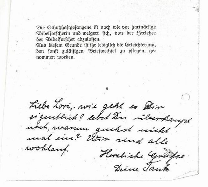 auf der Rückseite Schreibverbot des KZ Ravensbrück [11]