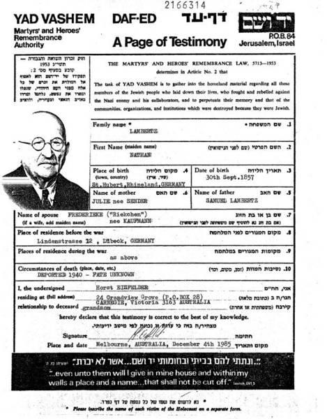 Yad Vashem, The Central Database of Shoah Victims' Names