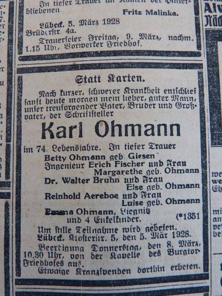 Obituary in the 6 March 1928 Lübecker Generalanzeiger