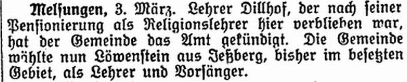 "Announcement in 26 March 1925 newspaper ""Der Israelit"" from www.judaica-alemannia.de"