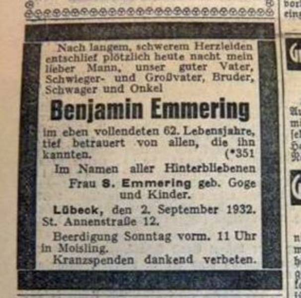 Benjamin Emmering's death annoucement in the 3 September 1932 Lübecker Generalanzeiger[5]