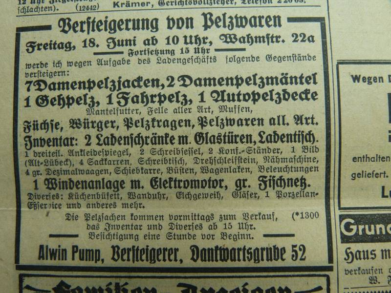 Auction Advertisement in the Lüberker Generalanzeiger