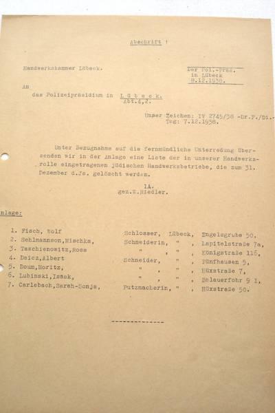 Löschung jüdischer Handwerksbetriebe aus der Handwerksrolle im Dezember 1938; Archiv der Hansestadt Lübeck, Staatliche Polizeiverwaltung 126