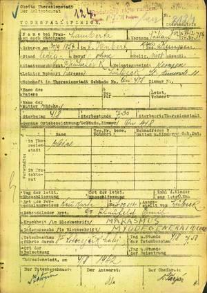 Todesfallbenachrichtigung Nathan Lambertz, www.holocaust.cz