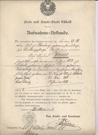 The Free and Hanseatic City of Lübeck Citizenship Certificate for Edmund Wiener, 1913.