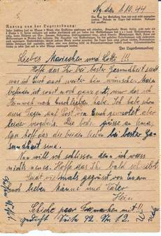 1 Oct. 1944 Letter from Neuengamme Concerntration Camp [6] and [7]