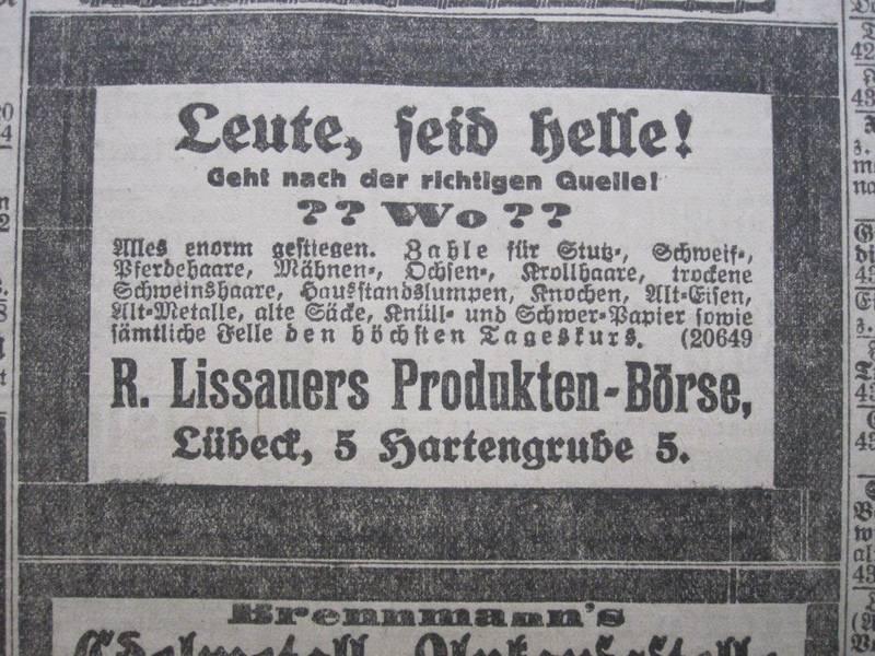 Anzeigen aus den Jahren 1922 und 1923 im Lübecker Generalanzeiger  Repro Albrecht Schreiber
