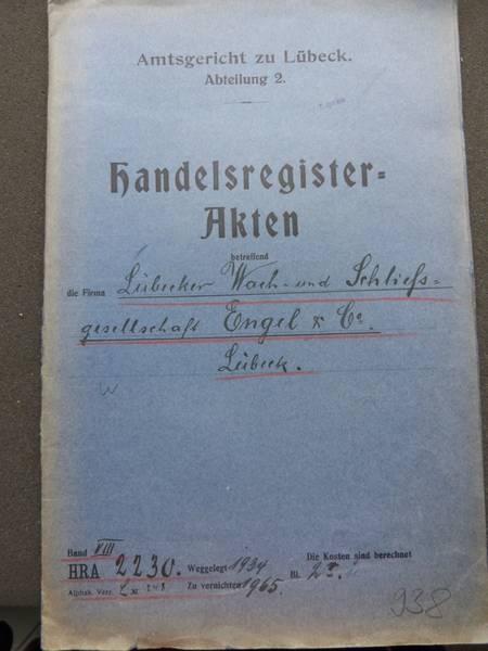 Titel der Akte, Archiv der Hansestadt Lübeck, Amtsgericht Lübeck, Abt. 2, HRA 2230