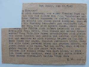 DOKUMENT: Postkarte vom 23.7.1942, Familienbesitz Dieber
