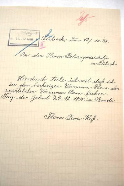 Zwangsnamen: Flora Hess