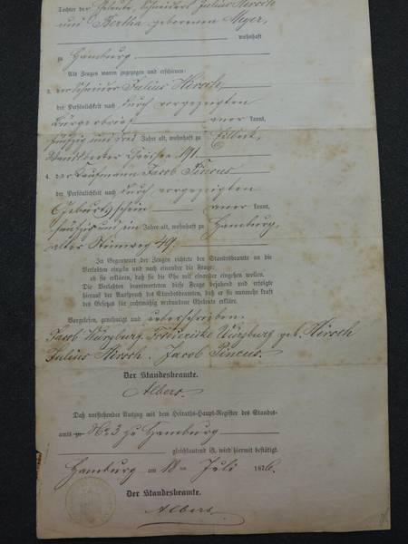Heiratsurkunde Rückseite: Archiv der Hansestadt Lübeck, Amtgericht, Abt. 7, Testament 25 / 1907