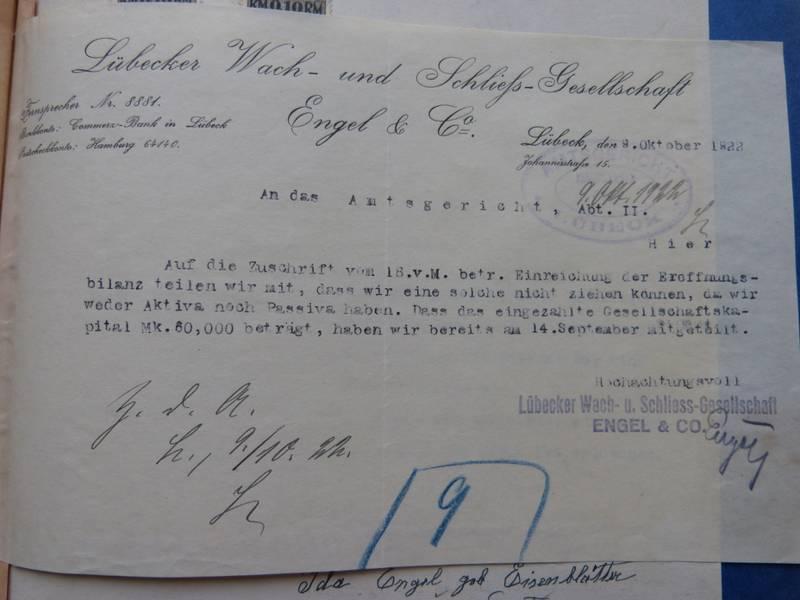 Briefkopf der Firma von Walter und Ida Engel 1922, Archiv der Hansestadt Lübeck, Amtsgericht Handelsregister A