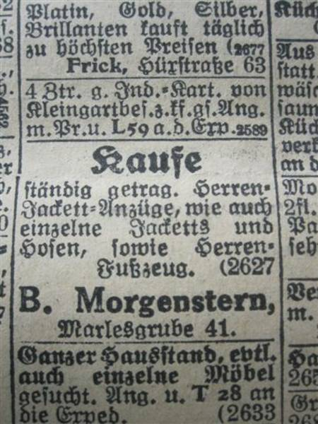 An advertisement from 15 September 1926 in the Lübecker Generalanzeiger (the Lübecker General Advertiser)
